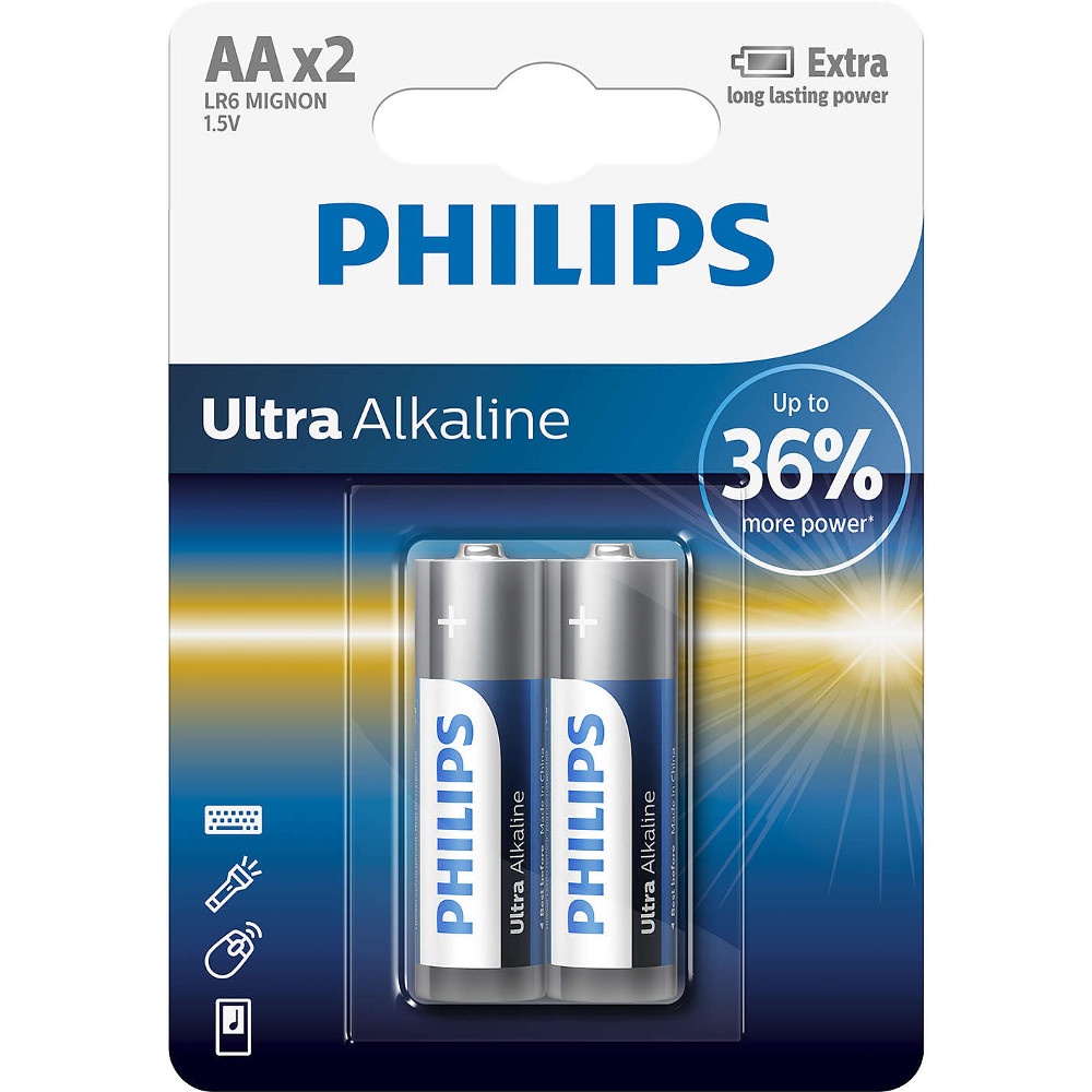 Baterii Philips Ultra Alkaline LR6E2B/10, AA, 2 buc