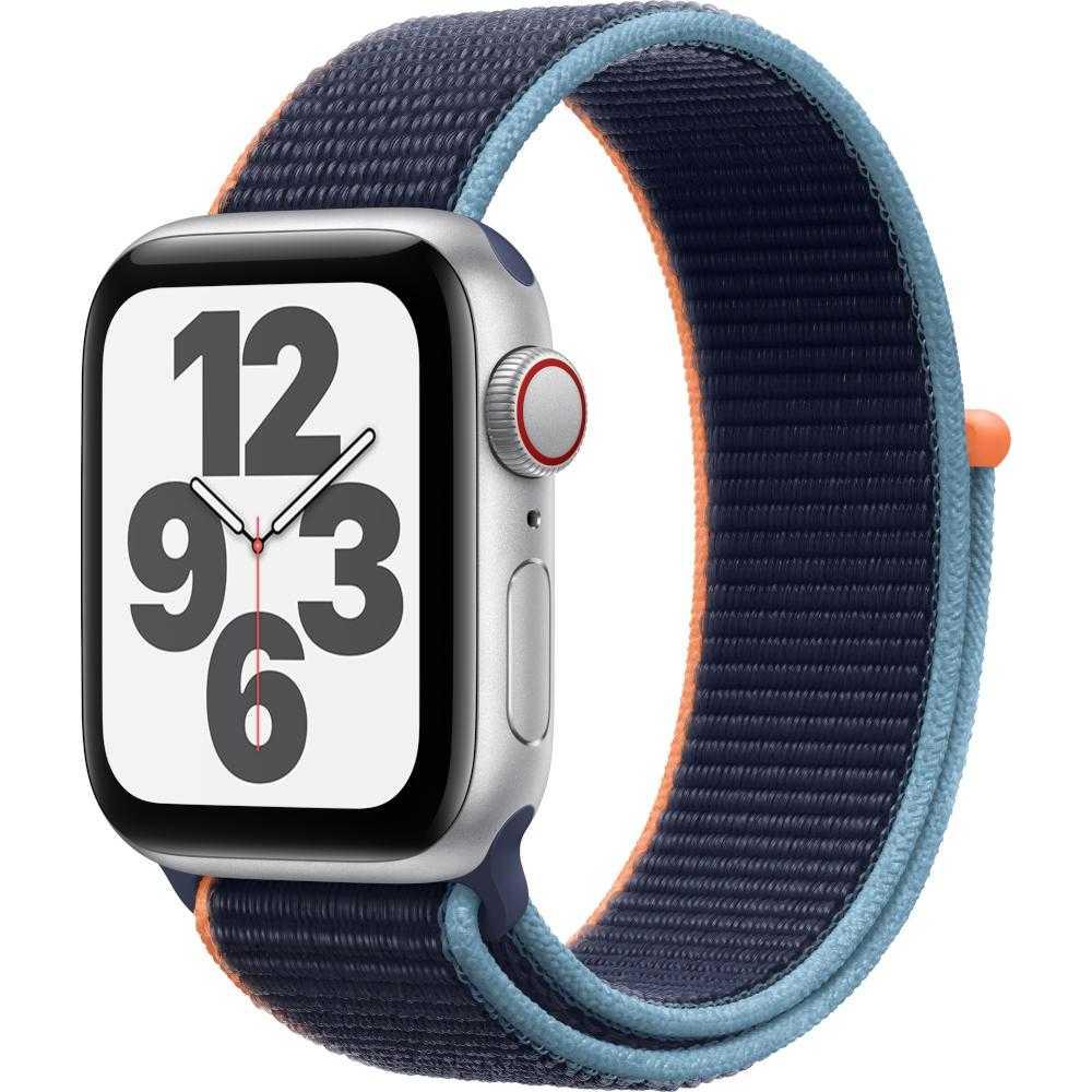 Apple Watch Series SE GPS + Cellular, 40mm, Silver, Aluminium Case, Deep Navy Sport Loop