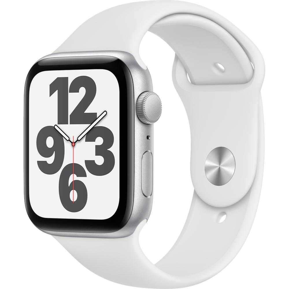 Apple Watch Series SE GPS, 44mm, Silver, Aluminium Case, White Sport Band
