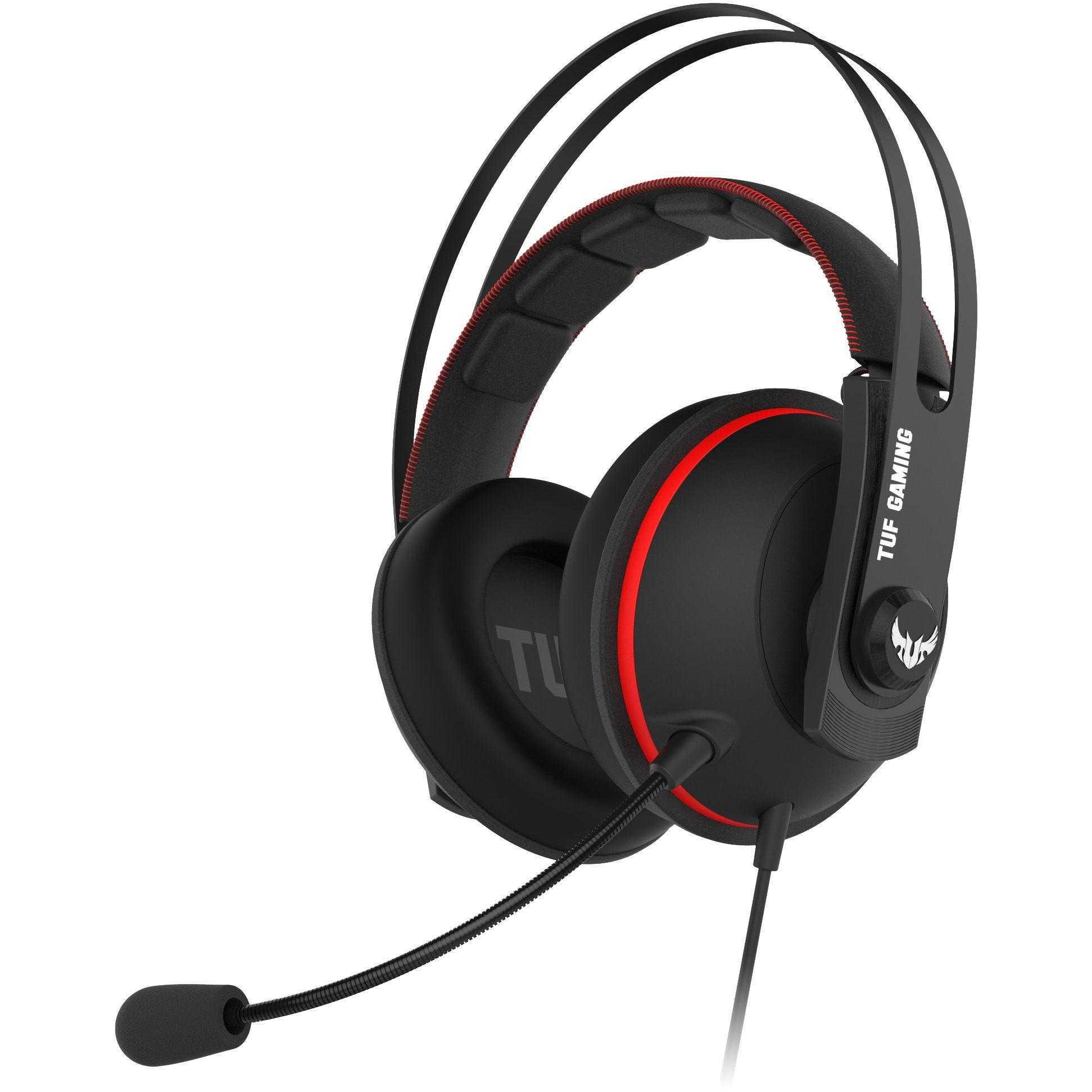 Casti gaming cu microfon Asus TUF H7, Negru/Rosu