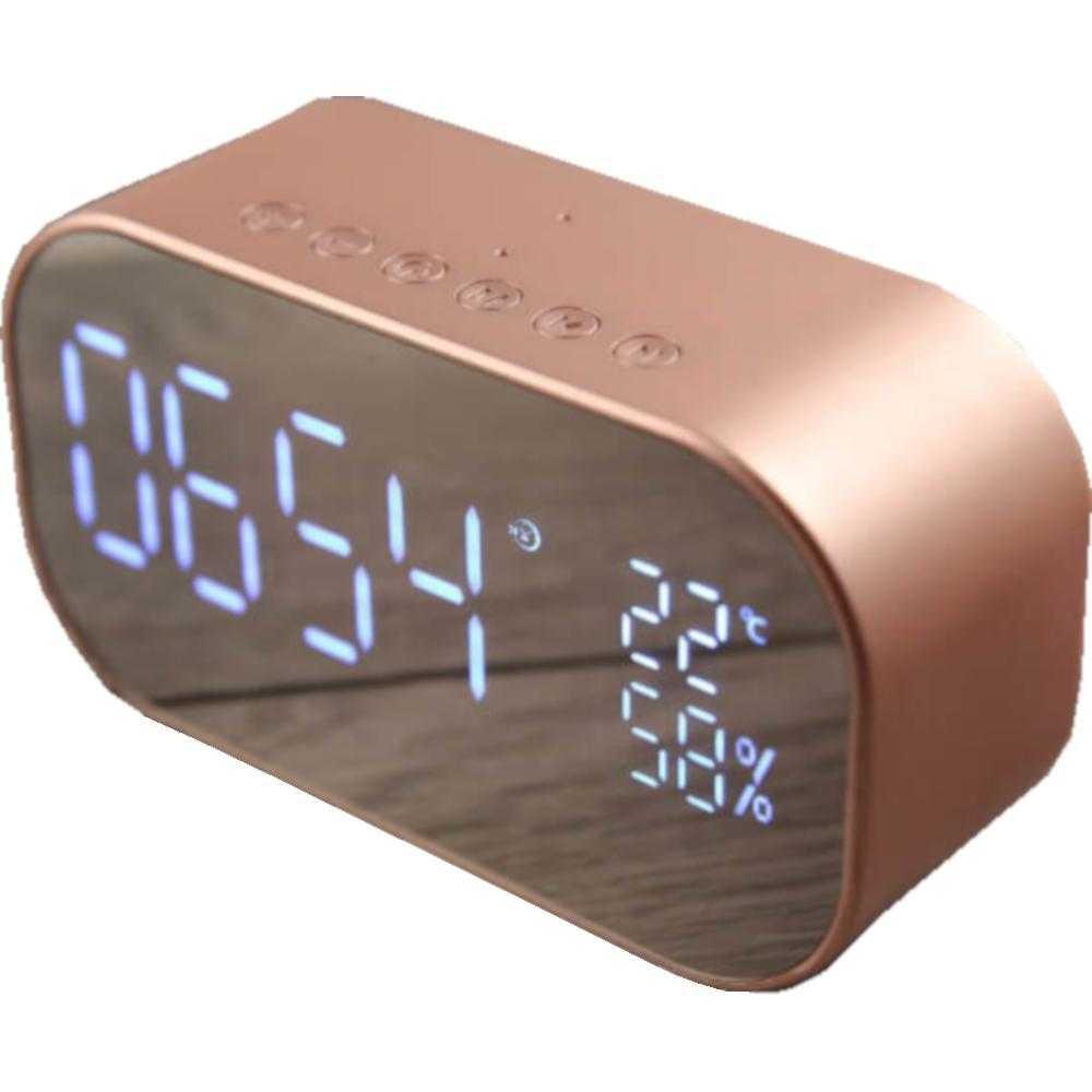 Ceas cu radio Akai ABTS-S2, Alarma, Calendar, USB, Auriu