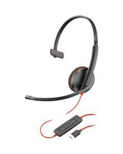 Casca Call Center Plantronics Blackwire 3210 USB-C, Negru