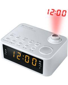 Radio cu ceas Muse M-178 PW, Proiectie Ora, Alarma dubla LED, AUX, Alb