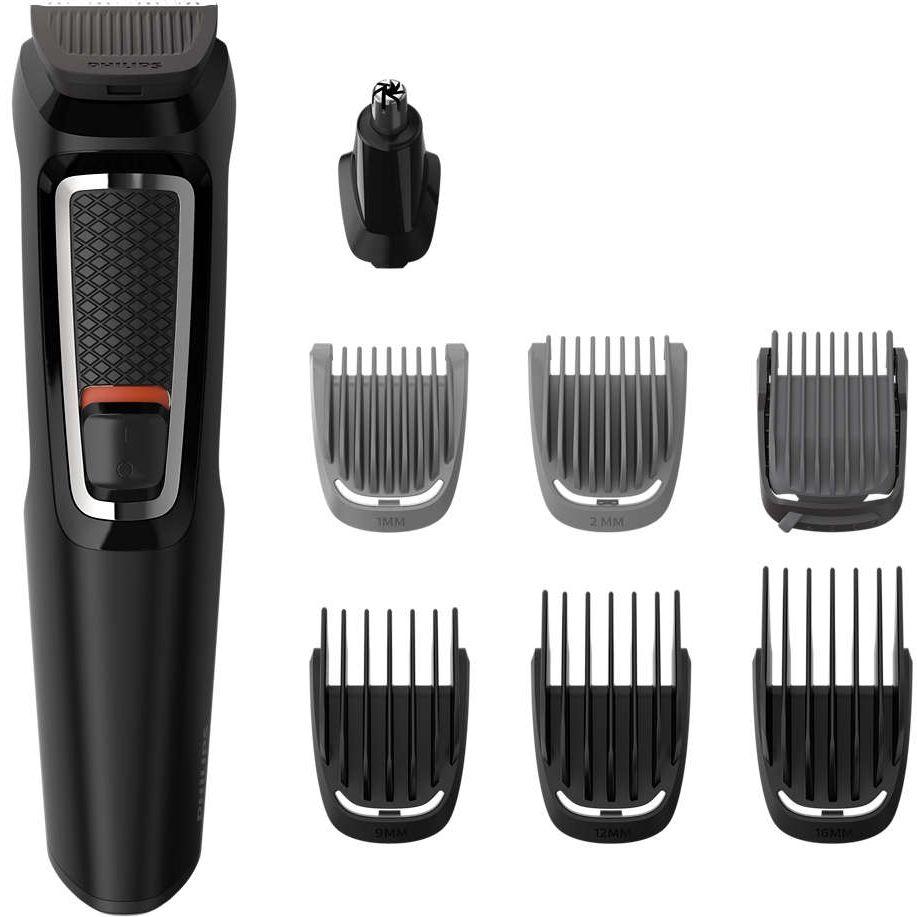 Aparat de tuns barba si parul Philips Multigroom 8 in 1 MG3730/15, Acumulator, 1-16 mm, Negru