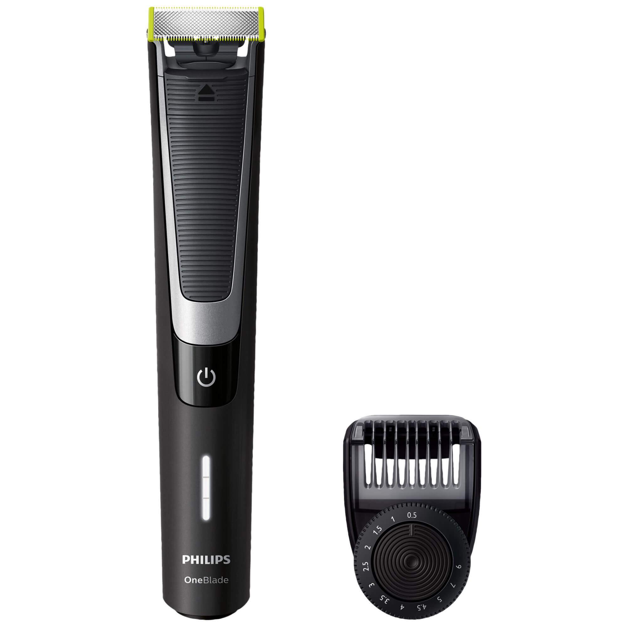 Aparat hibrid de ras si tuns barba Philips OneBlade Pro QP6510/20, Acumulator, Cap barbierit cu o lama, Umed/Uscat, Negru