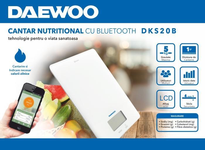 Cantar nutritional cu Bluetooth Daewoo DKS20B